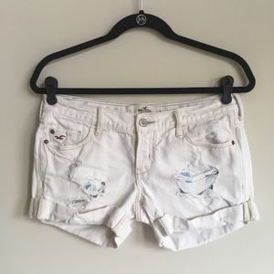 Hollister distressed white denim shorts